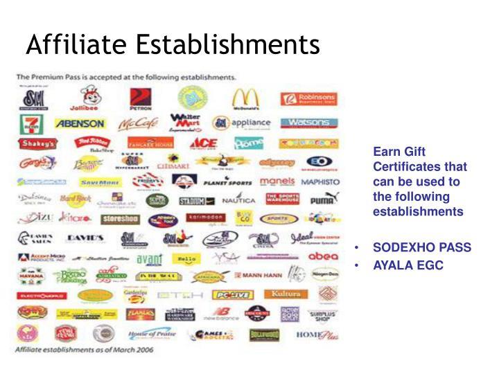 Affiliate Establishments