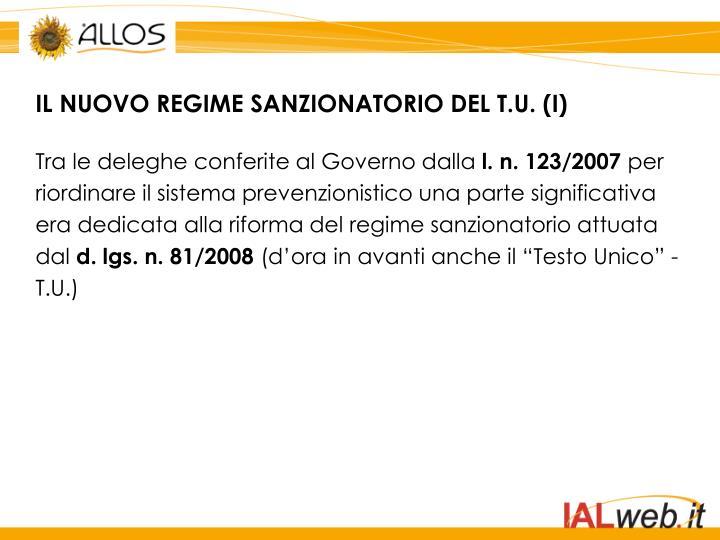 IL NUOVO REGIME SANZIONATORIO DEL T.U. (I)