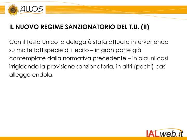 IL NUOVO REGIME SANZIONATORIO DEL T.U. (II)