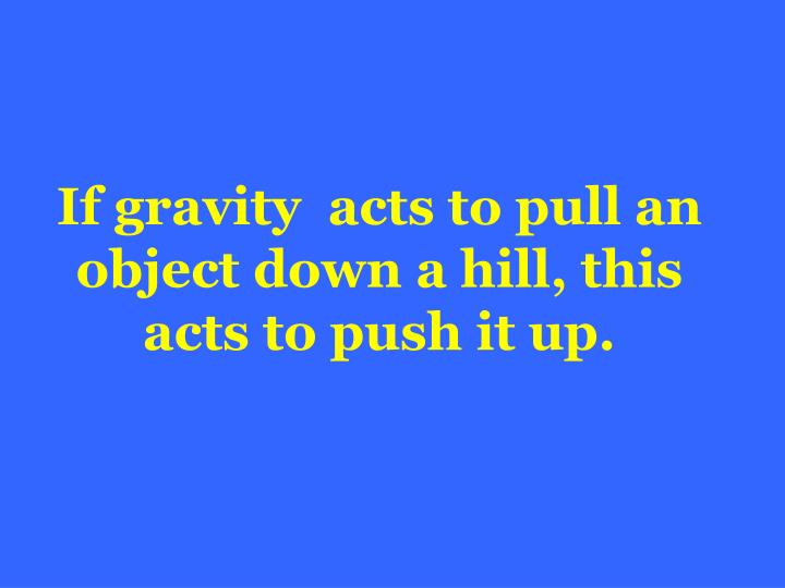 If gravity  acts to pull an object down a hill, this acts to push it up.