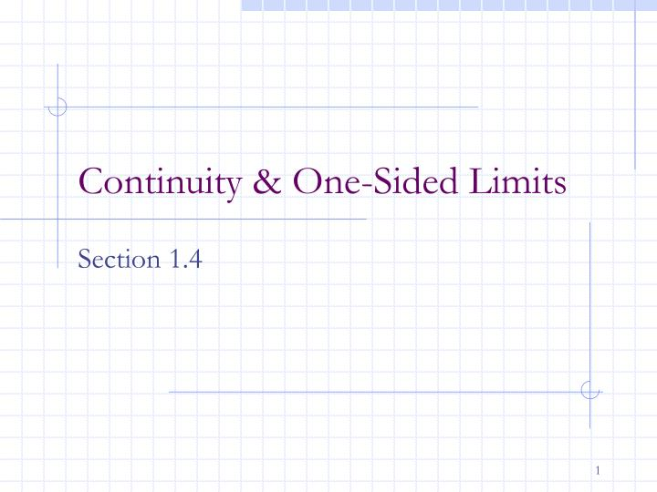 Continuity one sided limits