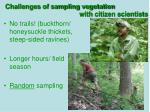 challenges of sampling vegetation