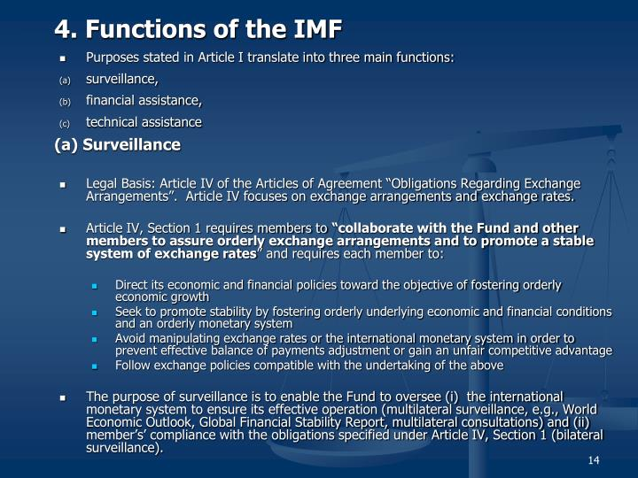 4. Functions of the IMF