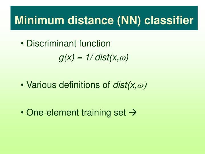 Minimum distance (NN) classifier