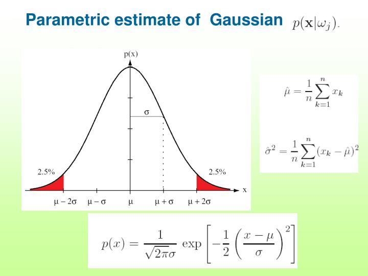Parametric estimate of  Gaussian
