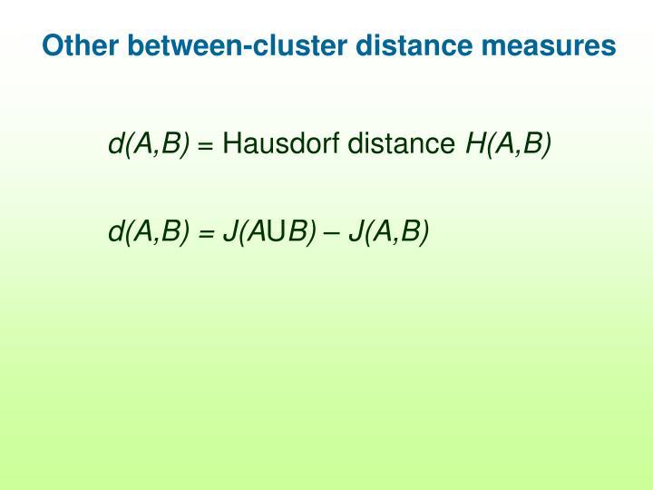 Other between-cluster distance measures
