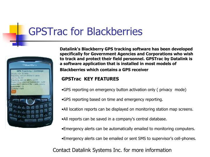 GPSTrac for Blackberries