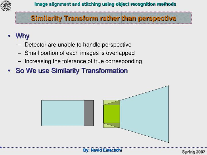 Similarity Transform rather than perspective