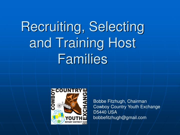 recruiting selecting and training host families n.