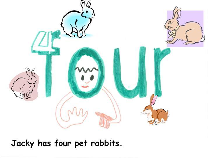 Jacky has four pet rabbits.
