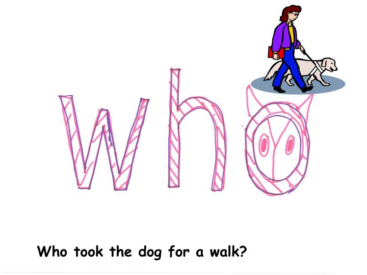 Who took the dog for a walk?