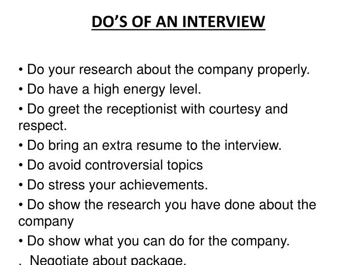 DO'S OF AN INTERVIEW