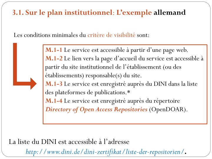 3.1. Sur le plan institutionnel