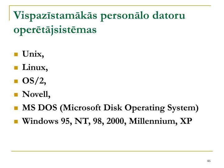 Vispazīstamākās personālo datoru operētājsistēmas