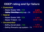 odep rating and 5yr failure