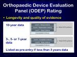 orthopaedic device evaluation panel odep rating
