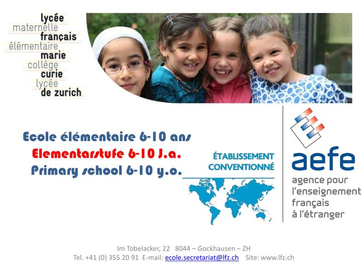 Ecole l mentaire 6 10 ans elementarstufe 6 10 j a primary school 6 10 y o