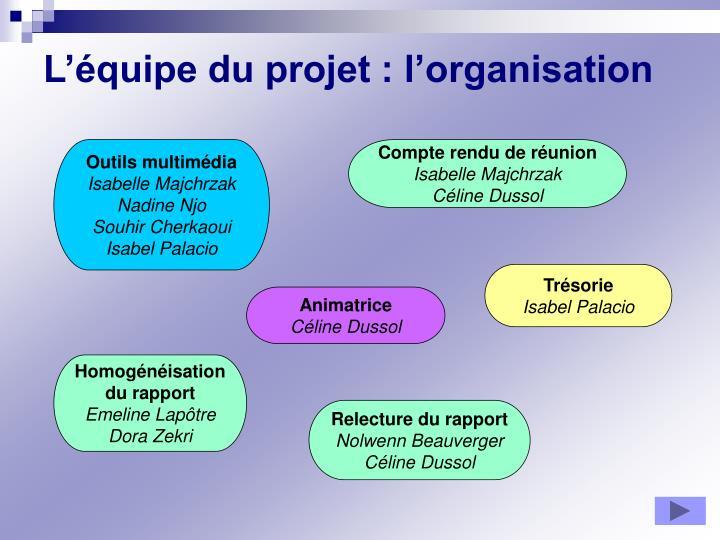L'équipe du projet : l'organisation