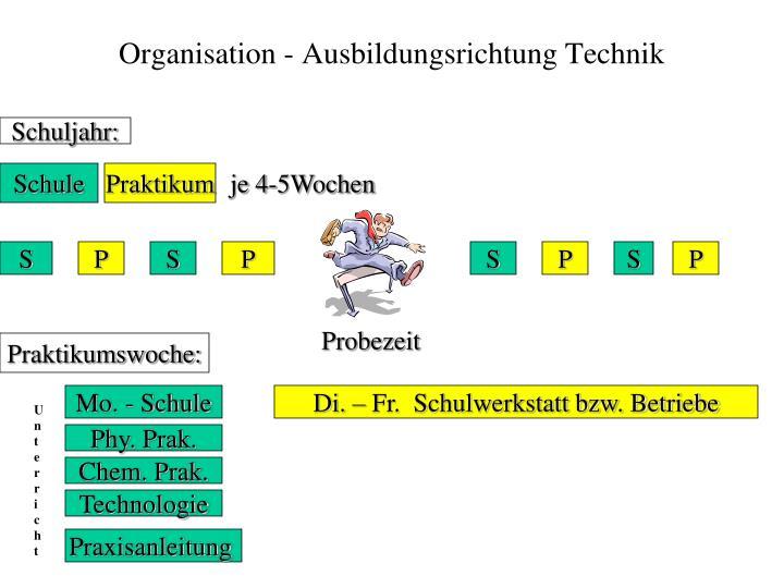Organisation - Ausbildungsrichtung Technik