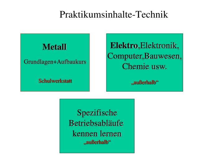 Praktikumsinhalte technik