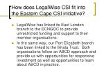 how does legalwise csi fit into the eastern cape csi initiative
