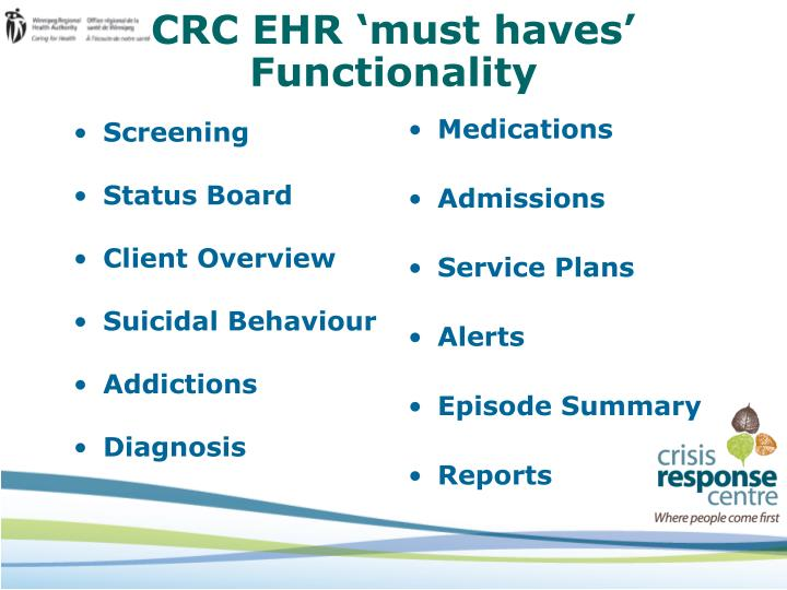 CRC EHR 'must haves'