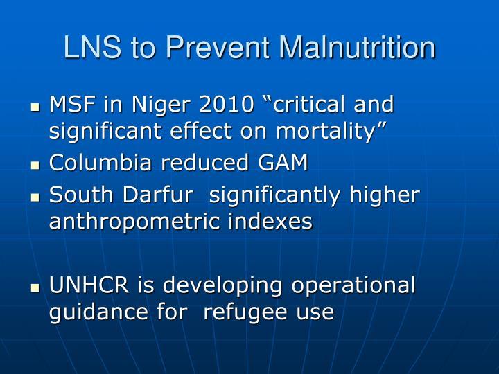 LNS to Prevent Malnutrition
