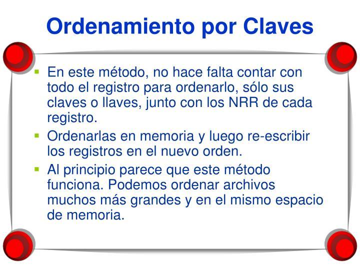 Ordenamiento por Claves