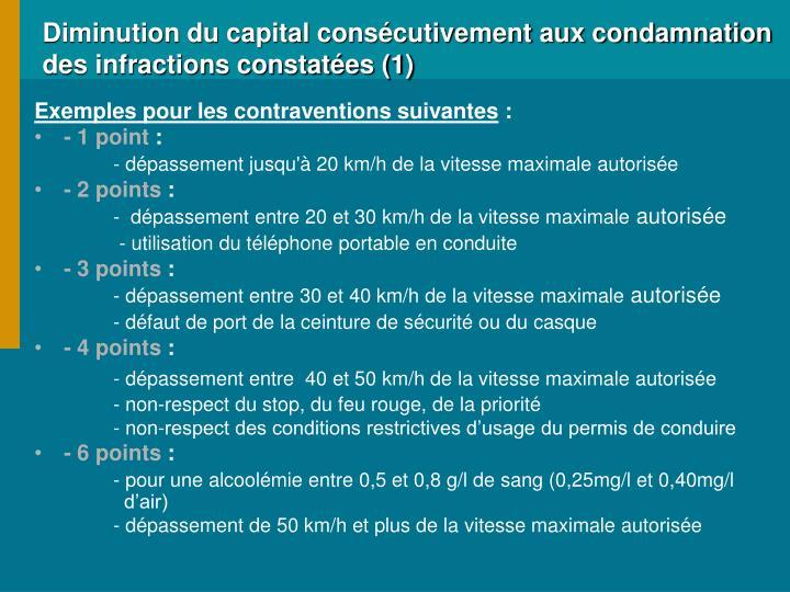 Diminution du capital cons cutivement aux condamnation des infractions constat es 1