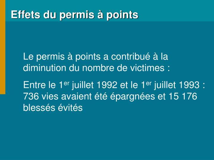 Effets du permis à points