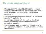 the classical analysis continued