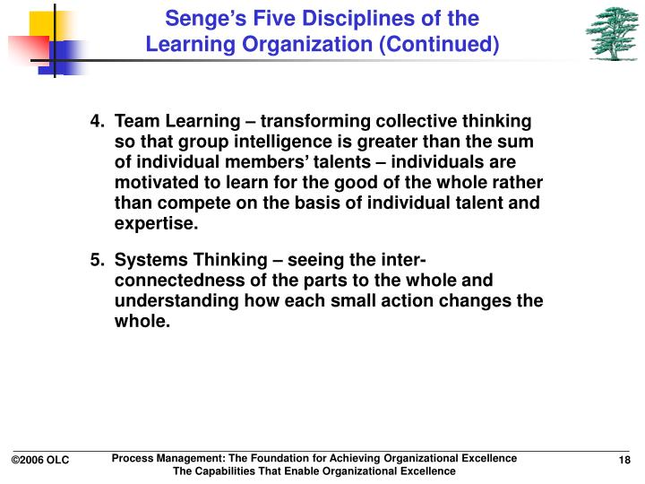 five disciplines of organizational learning Chairman of the society of organizational learning his book the fifth discipline discussed learning the five disciplines of learning organization.