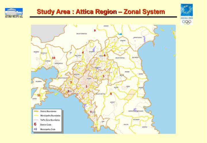 Study area attica region zonal system