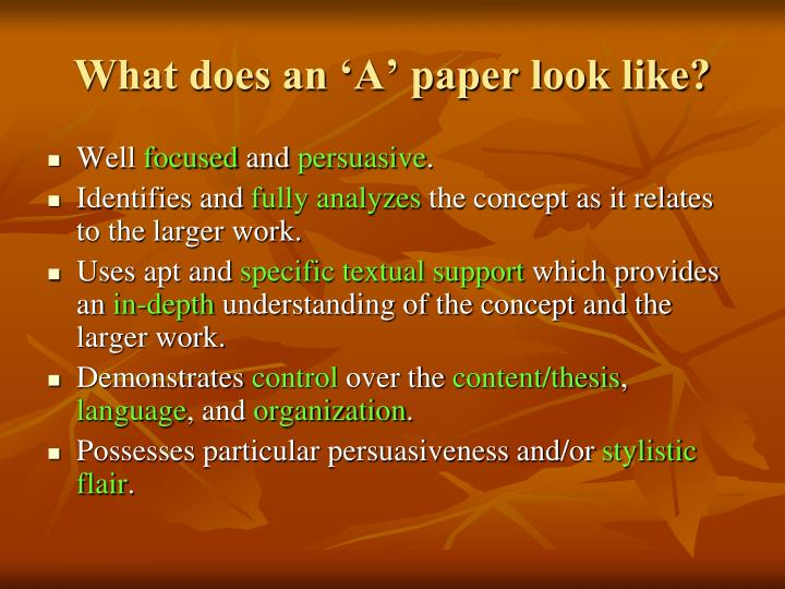 What does an 'A' paper look like?