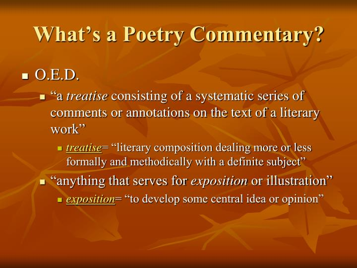 What s a poetry commentary