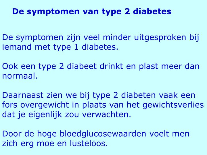 De symptomen van type 2 diabetes