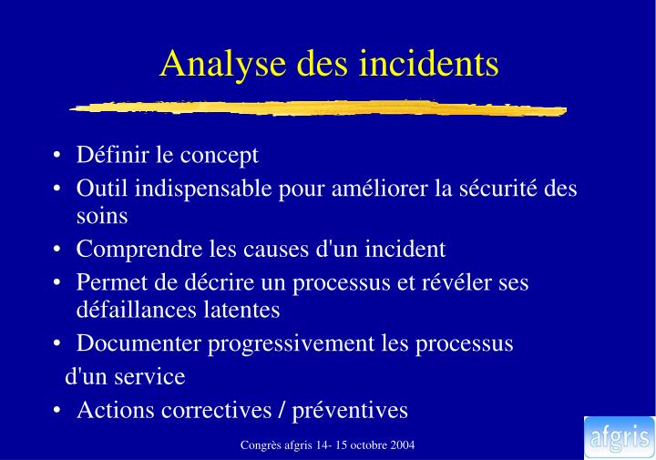 Analyse des incidents