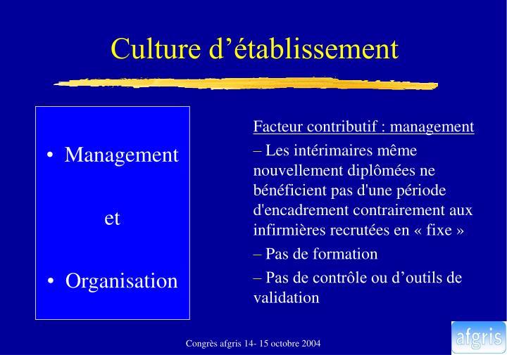 Culture d'établissement