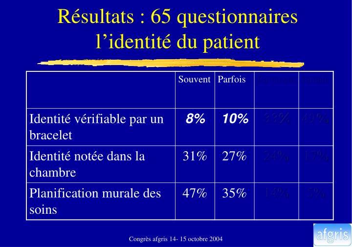 Résultats : 65 questionnaires
