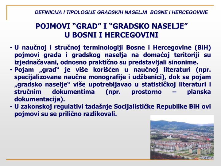 Definicija i tipologije gradskih naselja bosne i hercegovine