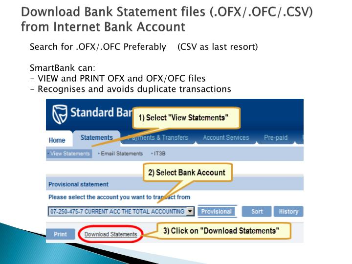 Download Bank Statement files (.OFX/.OFC/.CSV) from Internet Bank Account