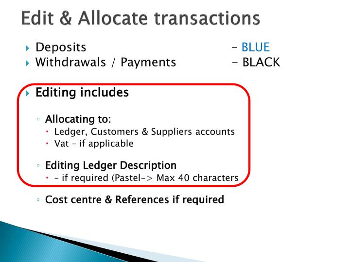 Edit & Allocate transactions