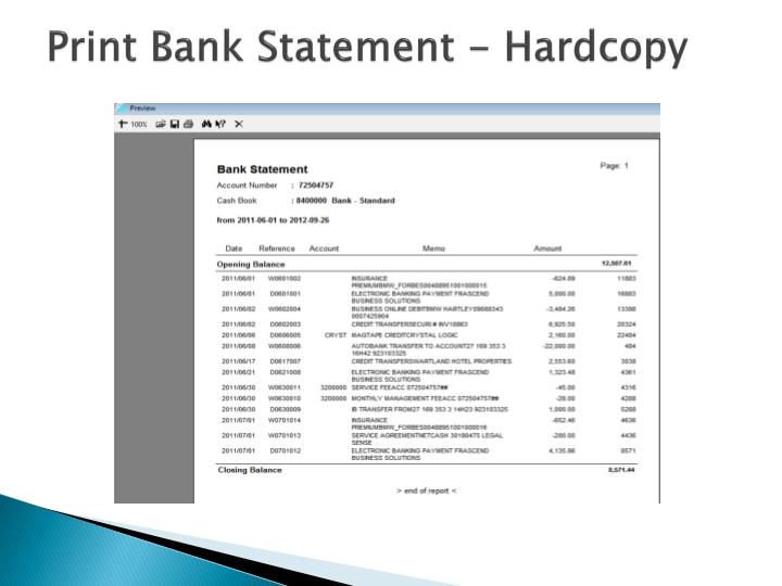 Print Bank Statement - Hardcopy
