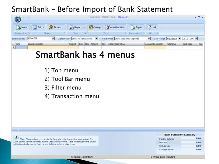 SmartBank – Before Import of Bank Statement file