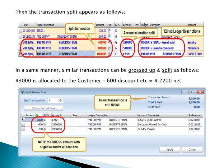 Then the transaction split appears as follows: