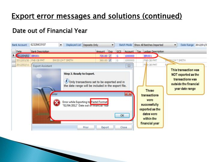 Export error messages and solutions (continued)