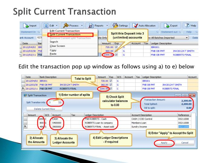Split Current Transaction