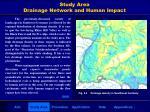 study area drainage network and human impact