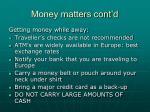 money matters cont d