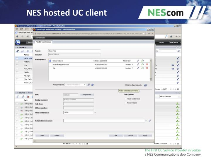 NES hosted UC client